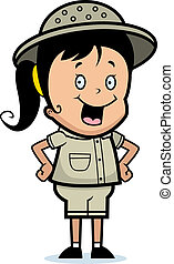 Explorer Smiling - A happy cartoon child explorer standing...