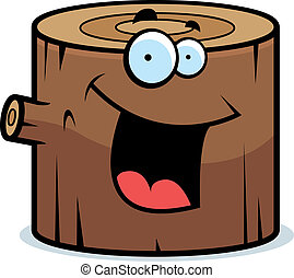 Log Smiling - A cartoon wood log smiling and happy.