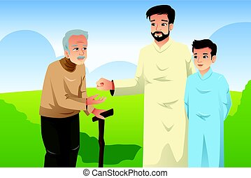 Muslim Father and Son Giving Money to an Old Man - A vector...