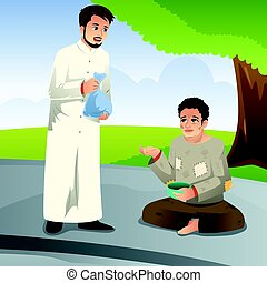 Muslim Man Giving Donation to a Poor Man - A vector...