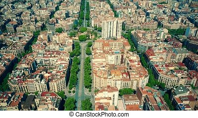 Barcelona residential area blocks pattern and major street...