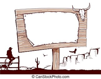 Wood sign background for text.Cowboy ranch. - Wood sign...