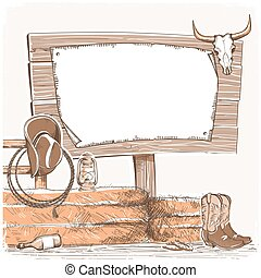 Cowboy background with wood board for text. American...