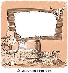 Cowboy background with wood board for text. American ranch...