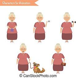Funny Grandmother housewife cartoon. - Grandmother housewife...