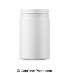 White plastic tablet bottle template. - White glossy plastic...