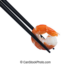 Chopstic and prawn - Black chopsticks holiding a half sheeld...