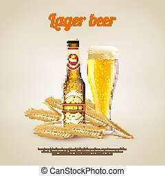 Lager Beer Background - Realistic background with bottle and...