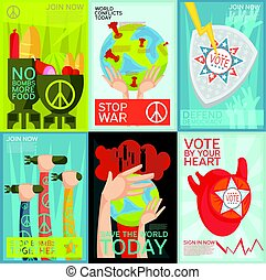 Propaganda Posters Set - Colorful flat set of social and...