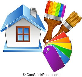 House and brush with paint, color palette - Home and brush...
