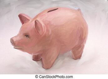 Piggybank - Digital painting of a piggybank