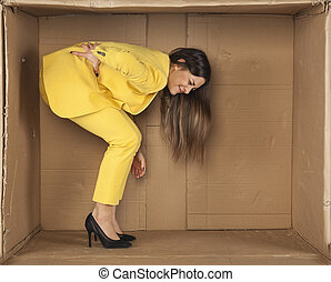 woman has a sore back from staying in a cramped room