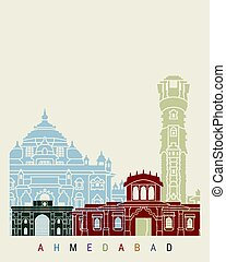 Ahmedabad skyline poster in editable vector file