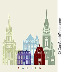 Aachen skyline poster in editable vector file