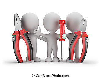 3d people with a tool - Three people with the tools in the...