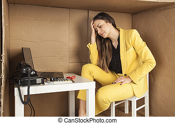 business woman has a headache from the volume of work in the office