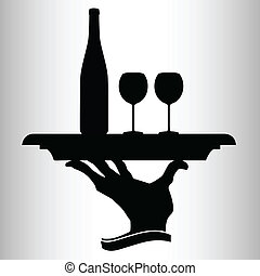 bottle of wine for two vector silhouettes