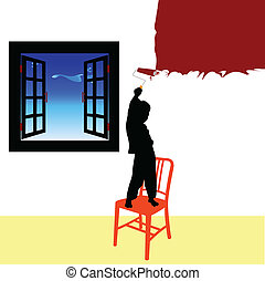 boy paint room vector illustration