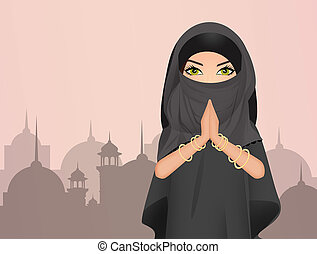 Muslim girl with veil - illustration of Muslim girl with...