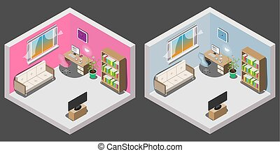 Isometric interior of room boy and girl