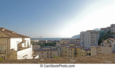 time lapse overview of Salerno , Italy - sea overview from...