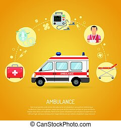 medical emergency ambulance concept with flat icons car,...
