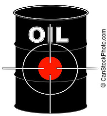 black oil barrel with crosshair target