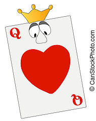 queen of hearts with google eyes and crown