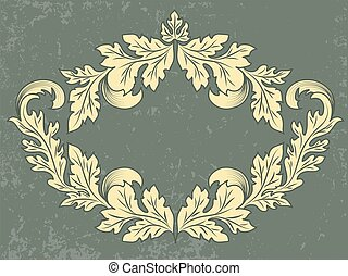 Vector vintage frame with grunge background. Wedding invitation and announcement card with floral elements.