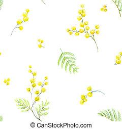 Watercolor mimosa pattern - Beautiful seamless pattern with...