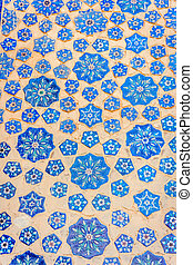 Blue tiles in a wall of Samarkand Registan, Uzbekistan