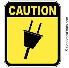 caution sign warning of power surge