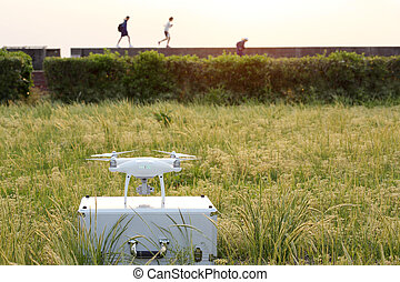 Drone before the flight on metal bag - Drone before the...