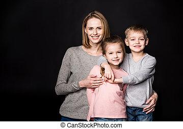 glücklich, Kinder, Mutter