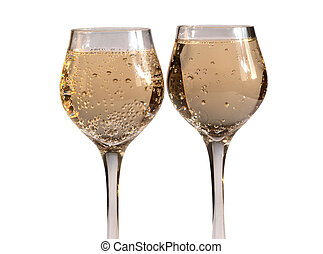 Champagne glass on white four. - Champagne in wineglass on...