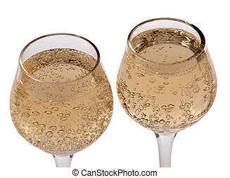 Champagne glass on white three - Champagne in wineglass on...