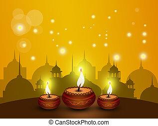 Happy Diwali festival - illustration of Happy Diwali...
