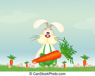 bunny with carrot - illustration of bunny with carrot