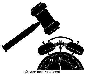 gavel smashing down alarm clock - silhouette of gavel...