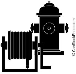 hose reel and fire hydrant - silhouette of hose reel and...