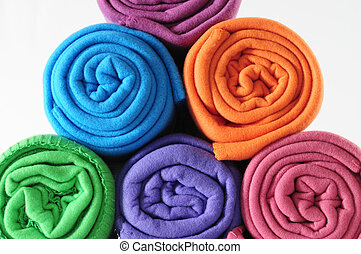 Blanket roll. - Colorful blankets.