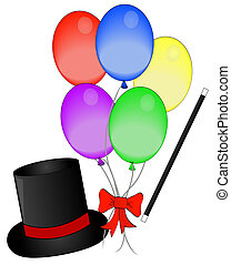 magic hat and wand with balloons
