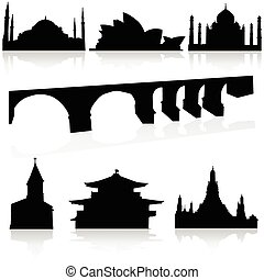 bridge and old buildings vector silhouettes