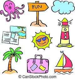 Vector art summer element doodles
