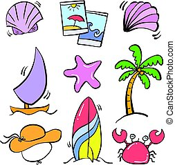 Doodle summer element vector art