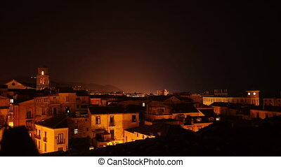 bell tower at night in Salerno - Salerno roofs time lapse at...
