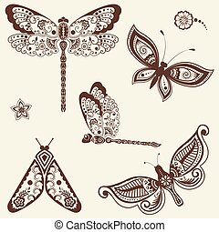 Vector illustration of mehndi ornament - butterflies, dragonflies. Traditional indian style, ornamental floral elements for tattoo, mehndi and yoga and prints. Abstract floral vector illustration.