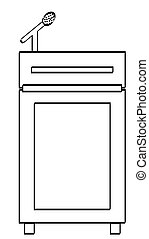 speakers podium with microphone - outline of speakers podium...