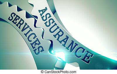 Assurance Services - Mechanism of Metallic Cog Gears. 3D.