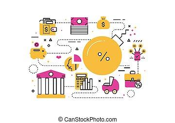 Debt concept illustration - Debt, finance and banking line...